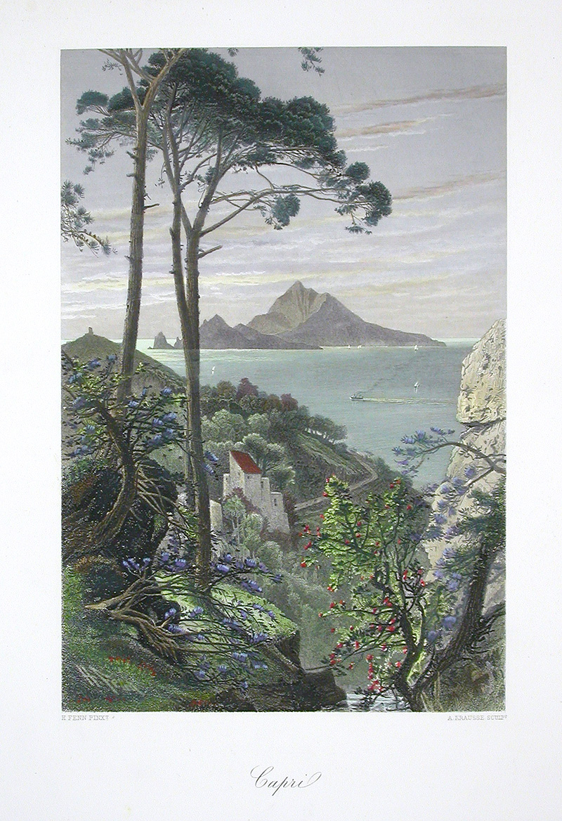 Steel engraving of Capri from 1875 named Picturesque Europe