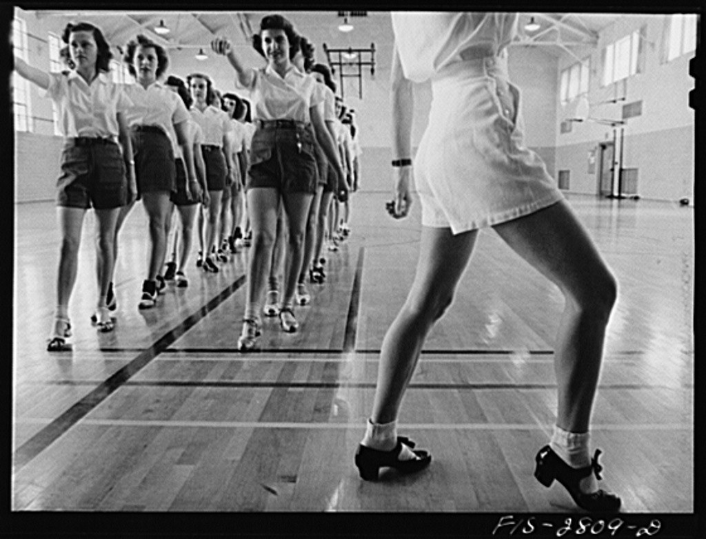 Photograph of tap dancing class 1942