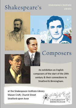 Image of poster for 2014 exhibition: Shakespeare's Composers