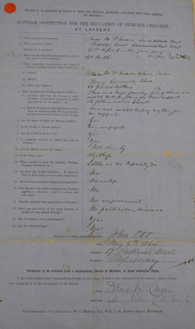 Image of Application for admission, 1865