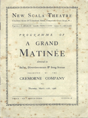 Image of Programme of A Grand Matinée devoted to Ballet, Divertissements & Song Scenas, 1926.