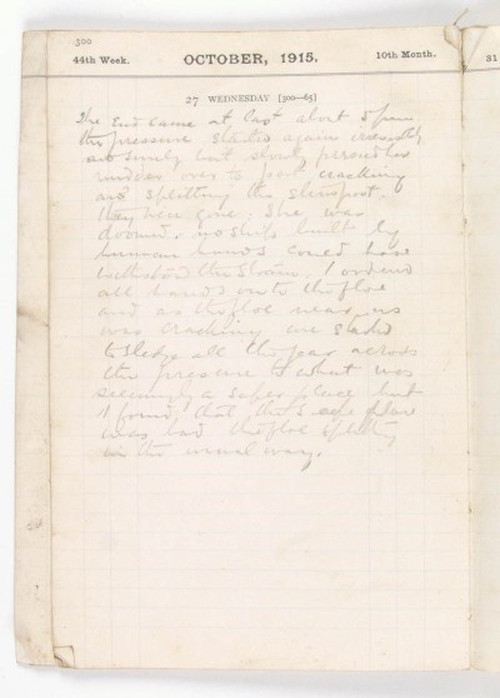 Shackleton's diary entry for the abandonment of Endurance in October 1915. SPRI MS 1537/3/8.