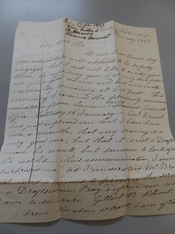 Photograph of a letter from the Blount archive