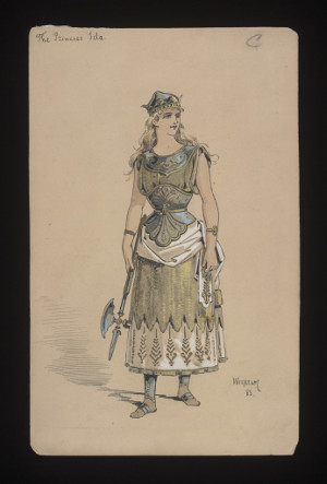 Costume design drawing by Wilhelm (1858-1925) for 'Princess Ida' (1884).