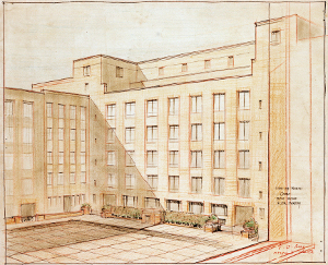 Architects' drawing of London School of Hygiene & Tropical Medicine North Courtyard, 1924.