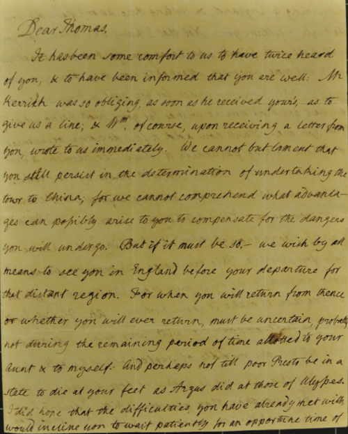 Letter from Thomas Manning's father, Rev William Manning, 1803
