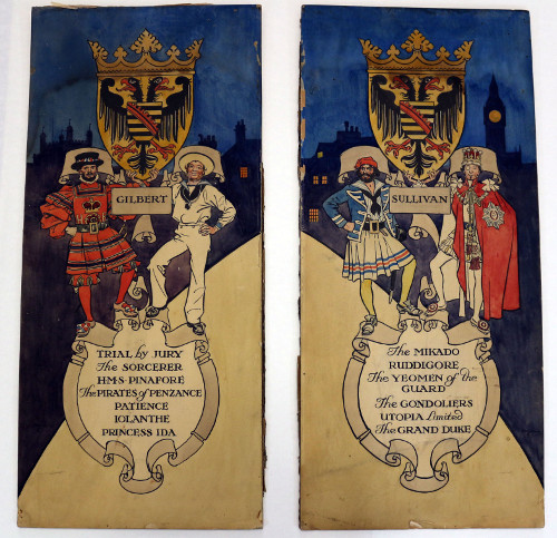 Original painted promotional panels by H.M. Brock, featuring characters from The Yeomen of the Guard, The Pirates of Penzance, H.M.S. Pinafore and Iolanthe.