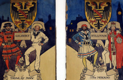 Original painted promotional panels by H.M. Brock, featuring characters from The Yeomen of the Guard, The Pirates of 