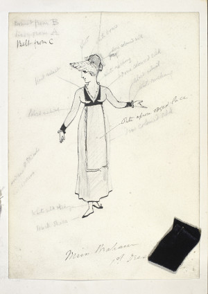 Costume sketch for Rose Maybud in Ruddigore by W.S. Gilbert (1836-1911).