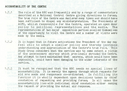 Extract from U DPO/8/1/36a, report to the ACPO Council on the policing of the NUM dispute, 1985