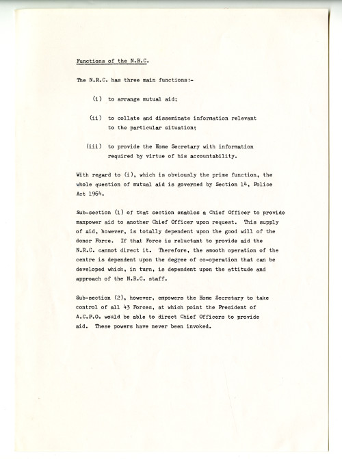 Discussion paper from U DPO/8/1/1 regarding the role of the NRC, 1981