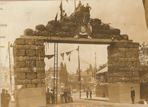 Decorative arch, made from cotton bales, as part of the Preston Guild