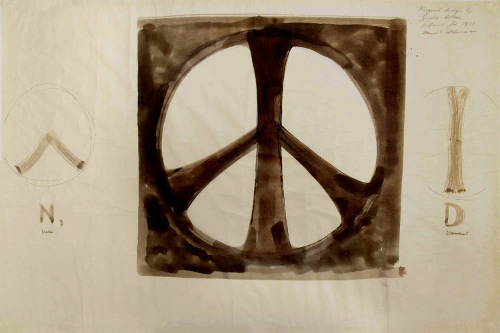 Brown nuclear disarmament symbol sketch by Gerald Holtom