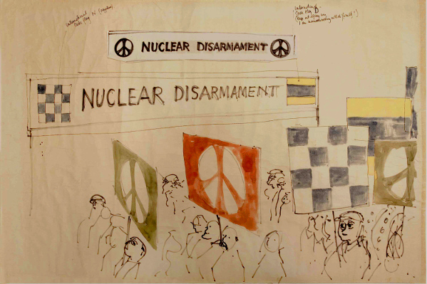 Nuclear disarmament march sketch by Gerald Holtom