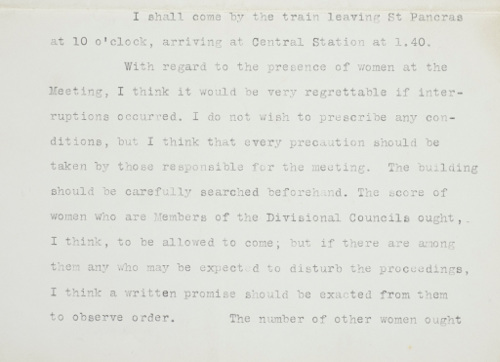 Excerpt of a letter to C.P. Scott from Winston Churchill, 9th May 1909