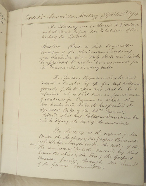 Page from minute book