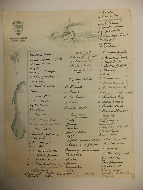 List of equipment and stores made by Bruce for an expedition to Spitsbergen