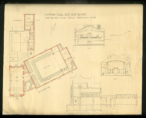 Plan of Conway Hall, first floor plan of hall and library