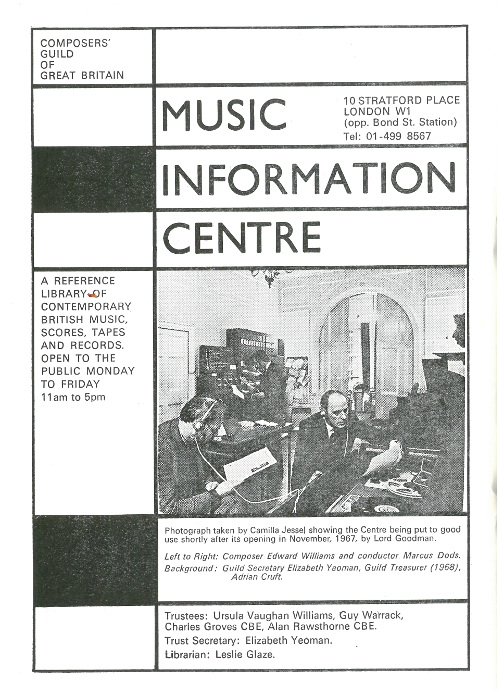 BMIC advert, 1968, 'Composer', Composers Guild of GB Journal.