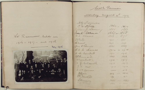 The Reunion Book of the Canterbury Cathedral Old Choristers is, to this day, a record of those who attend annual reunions of the Old Choristers Association. This page includes a photograph of those who attended the reunion in 1915, the last reunion until the end of the First World War (CCA-U166/F/2)