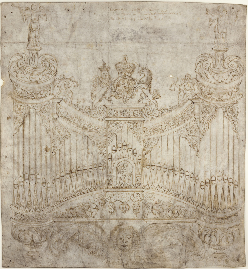 1662 drawing of the Great Organ by Lancelot Pease, organ builder (CCA-DCc/Fabric/8/4)