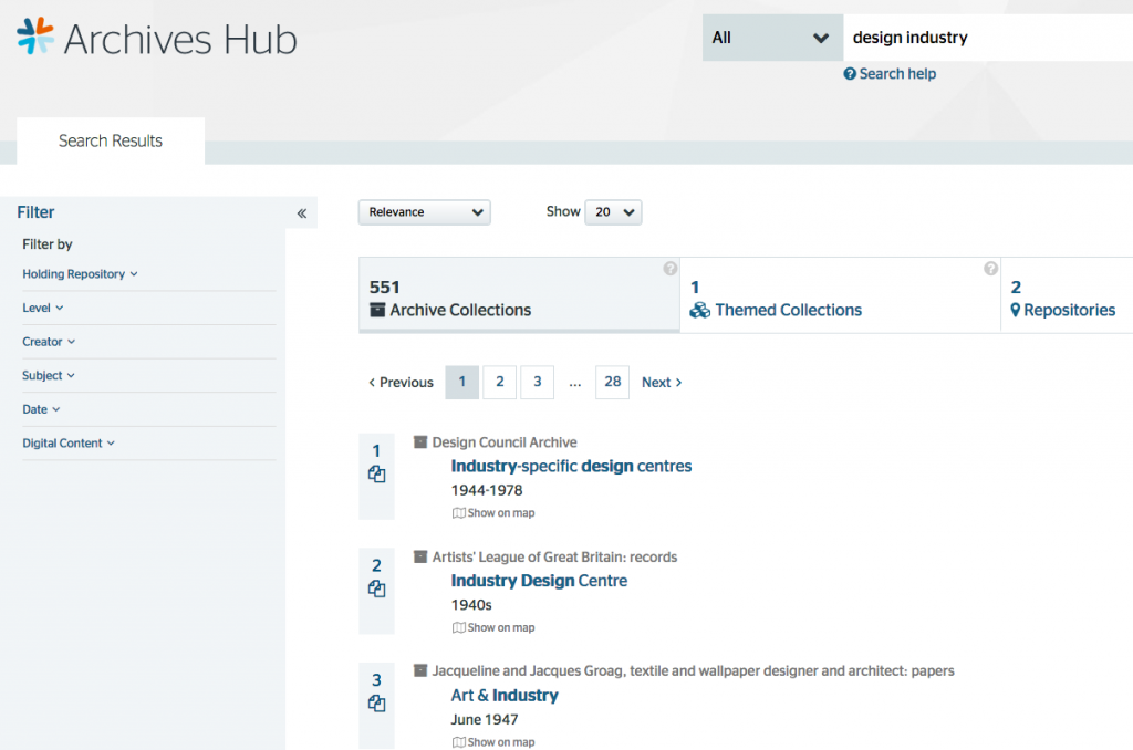 screenshot of Archives Hub search results