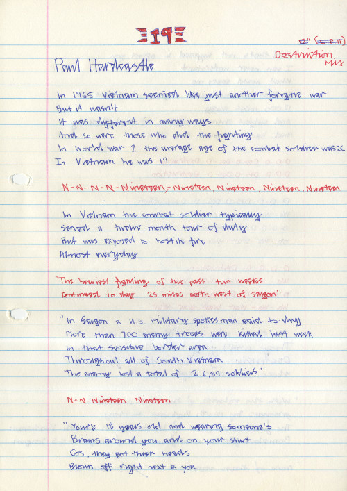 Ahmed's written copy of the lyrics to '19' by Paul Hardcastle (GB3228.19.6.2)