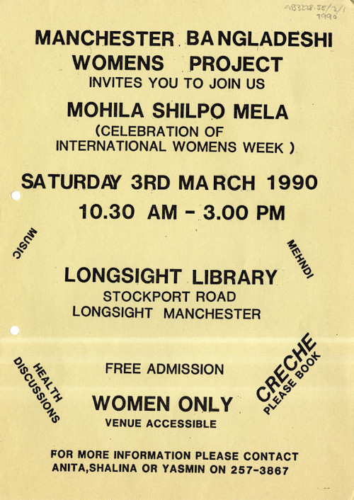 Ananna flyer for International Women's Week celebrations 1990 (GB3228.58.3.1)