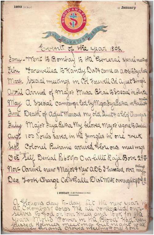 Captain John Lyons' diary, 1 January 1893