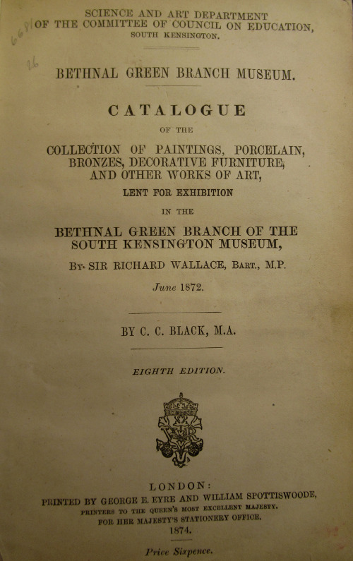Exhibition of items of works of art from the Richard Wallace collection exhibited at Bethnal Green during the adaptation of Hertford House for the purpose of displaying the collection, June 1872. © The Wallace Collection.