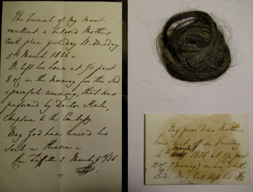 A lock of hair cut by Richard Wallace on the death of the 3rd Marchioness Maria Fagnani, with a note and envelope, 4 March 1856 © The Wallace Collection.