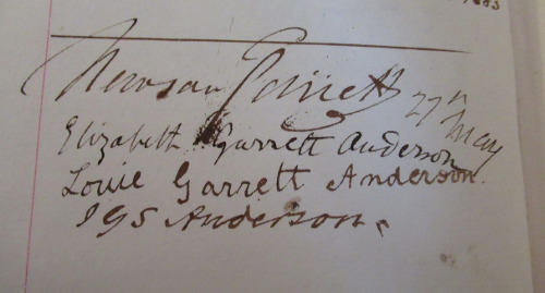 The Hertford House Visitors Book, showing the signature of Elizabeth Garrett Anderson who visited in 1883 with her father, husband and daughter Louise Garrett Anderson © The Wallace Collection.