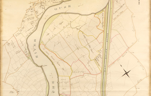 "Detail from a Plan of the Eau Brink River and part of the River Ouse with the proposed New Bridge, Public Roads and Drains communicating therewith"", 1819."