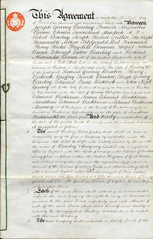 Signed agreement for the amalgamation of Barclays, Gurneys and Backhouses, 1896