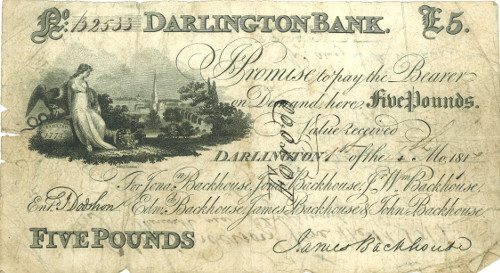 Forged £5 note, 1817: the Darlington bank was a victim of a gang of forgers in that year.