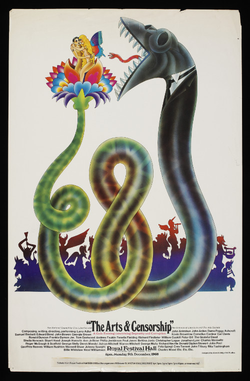 Poster for The Arts & Censorship gala at the Royal Festival Hall, 1968.