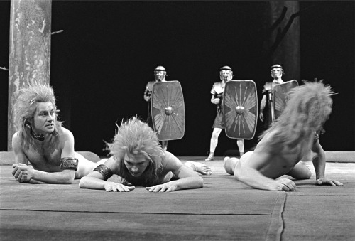 Production photograph of The Romans in Britain, National Theatre, 1980.
