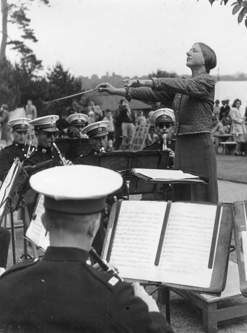 Holst conducting a military band, 1948, photographer: Nicholas Horne (ref no. HOL/2/11/4/6)