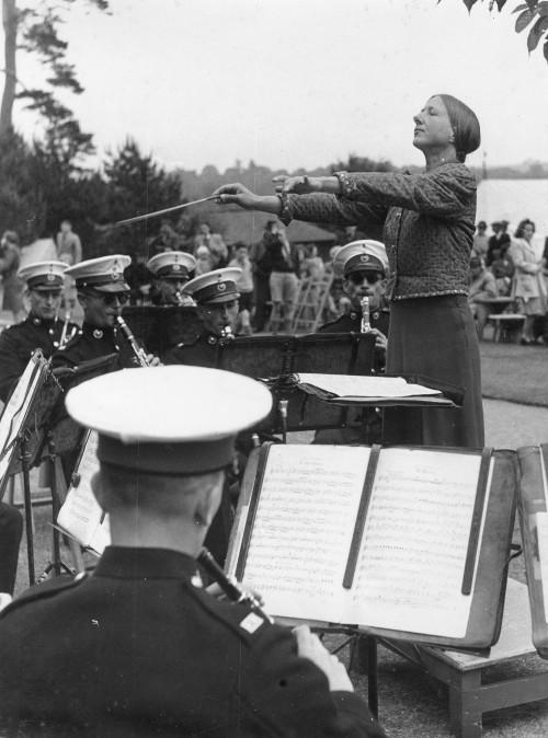 Holst conducting a military band, 1948, photographer: Nicholas Horne (ref no. HOL/2/11/4/6)