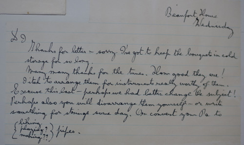 Letter from Gustav to Imogen, May 1934, congratulating her on the publication of her Five short airs on a ground (ref no. HOL/2/7/6/223)