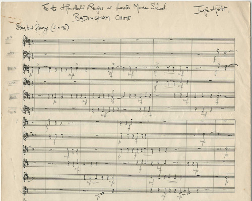 Holst's music manuscript for Badingham Chime for 12 handbells, 1969 (ref no. HOL/2/1/1/99)