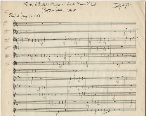 Holst's music manuscript for Badingham Chime for 12 handbells, 1969 (ref no. HOL/2/1/1/99)