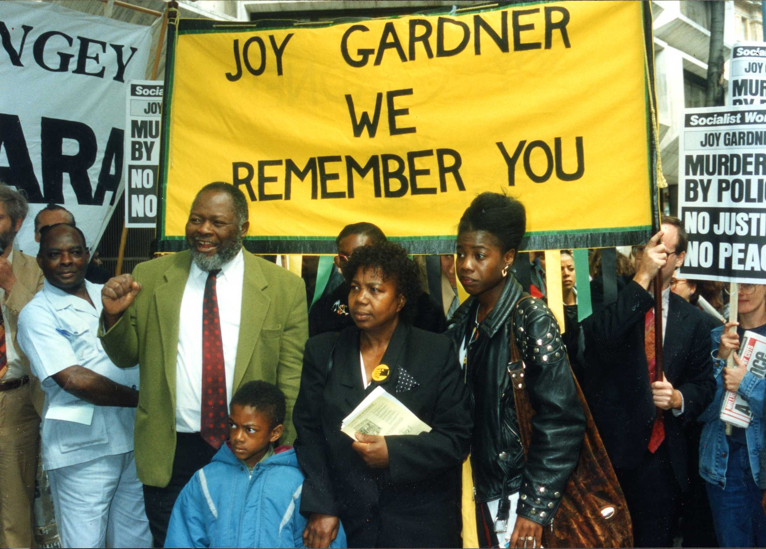 Photograph of a protest against the death of Joy Gardner, ca. 1993. Image credit: Bernie Grant Archive/Bishopsgate Institute.