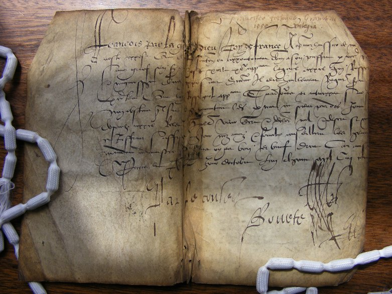 "Nonnio Marcello Saia, Di Nonio Marcello Saia da la Roccha gloriosa in Lucania, Ragionamenti sopra la celeste sfera, Paris, 1552. This is the vellum binding cover, which has come loose and detached from the textblock. It's a good example of ""binder's waste"" used to bind early printed books."