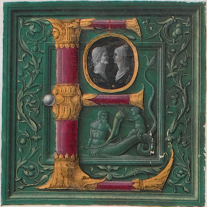 Initial of cylindrical red crystal with joints of gold in foliate design, embracing a cameo with portraits of Augustus and Faustina, attributed to The Master of the London Pliny, from the opening leaf of Cambridge University Library's copy of Pliny's Naturalis historia (Venice : Nicolas Jenson, 1476).  Inc.1.B.3.2[1360]