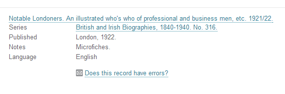 screenshot of report a record error button
