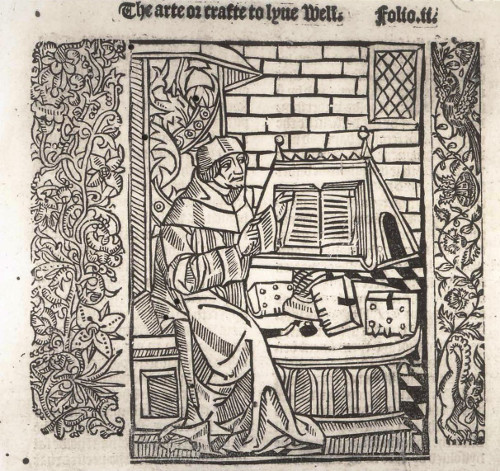 Illustration of a scholar at a lectern from Wynkyn de Worde's The crafte to lyve well and to dye well (1505)