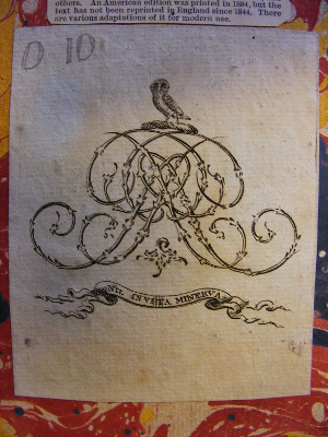 Photo of Unidentified bookplate found in the second copy of the second edition of the Commentaries (shelfmark BAY L551)