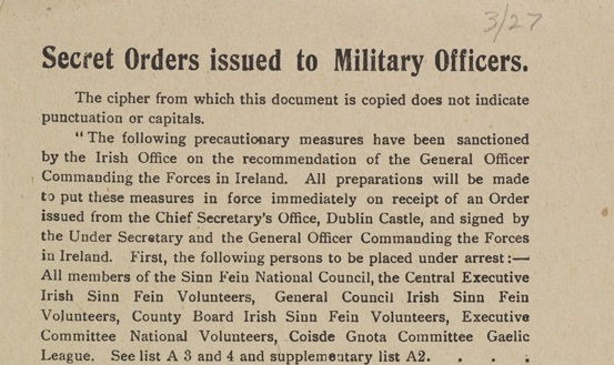 Snippet of Secret Orders issued to Military Officers ... [Kimmage, Dublin: ... 1916]