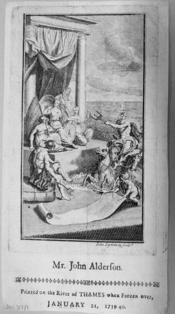 Photograph of a Keepsake printed for John Alderson (1739/40).